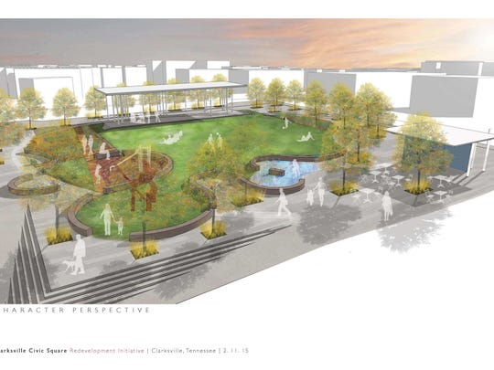 An architectural rendering shows one possible design for the civic plaza.