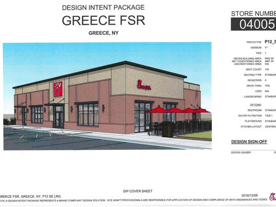 A rendering of the proposed Chick-fil-A restaurant on West Ridge Road in Greece.