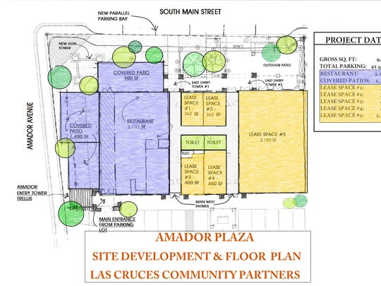 Floor plan for the redeveloped site at the corner of Las Cruces and Main streets.