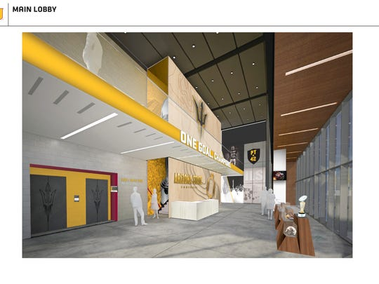 Rendering of main lobby in new ASU football facility.