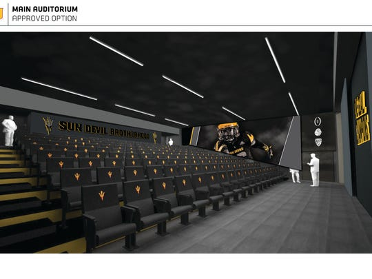 Rendering of main auditorium in new ASU football facility.