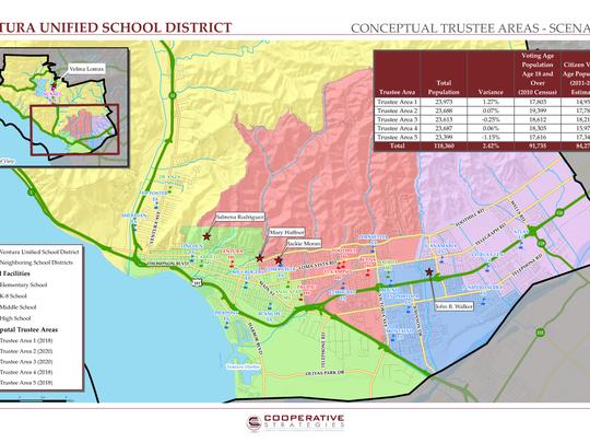 This map shows a conceptual scenario of trustee area-based election boundaries in Ventura