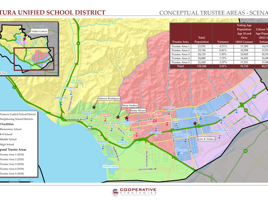This image shows a proposal of trustee areas for Ventura Unified.