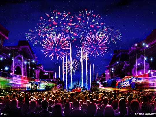"""Together Forever – A Pixar Nighttime Spectacular,"" will celebrate Pixar stories through the decades as it lights up the sky over Disneyland park, beginning with the debut of Pixar Fest, on April 13, 2018. This artist's concept illustrates how guests will be immersed in a journey that begins with the meeting of unlikely Pixar pals and follows them through their adventures. The story comes to life through projections on iconic park locations: Sleeping Beauty Castle, the water screens of the Rivers of America, the façade of ""it's a small world"" and the buildings of Main Street, U.S.A."