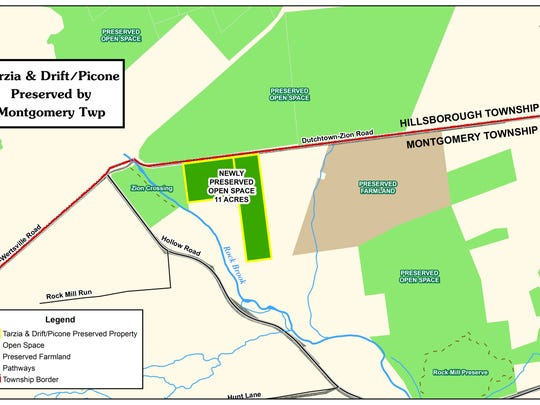 Location shown of two newly acquired parcels of open space along Montgomery Township's Rock Brook Greenway.