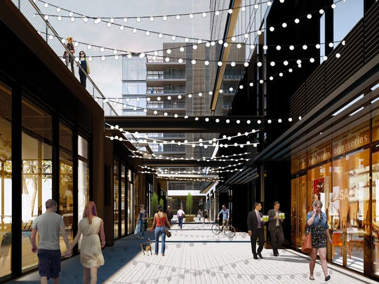 Nashville Yards will feature walkable outdoor mall-like plazas.  Gresham, Smith and Partners