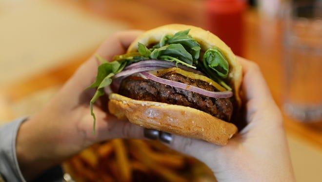 Farm Burger serves up grass-fed beef burgers.