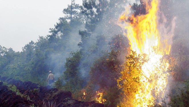 A wildfire in the Brown Mountain area of Pisgah National Forest.