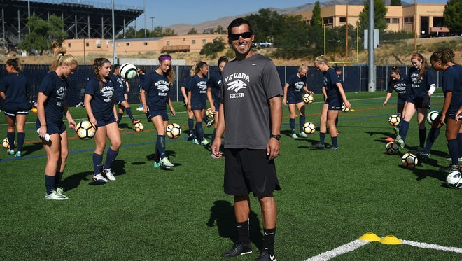 Casey Tate, interim co-head coach of the Nevada woman's soccer team, poses for a portrait before practice last week.