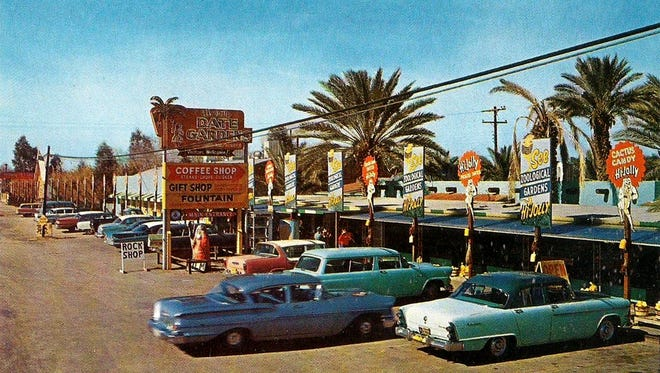 Graced with a figural palm tree adorned neon sign and a parking lot full of customers, Hi Jolly Date Garden, Bird Farm and Zoo was a hive of activity in its 1950s heyday.