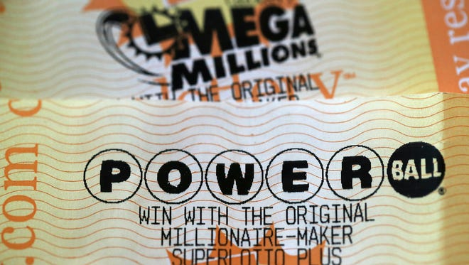 SAN ANSELMO, CA - JANUARY:  Powerball and Mega Millions lottery tickets are displayed on January 3, 2018 in San Anselmo, California.
