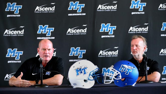 MTSU defensive coordinator Scott Shafer, left and offensive coordinator Tony Franklin, right, are among Conference USA's highest paid assistant football coaches.