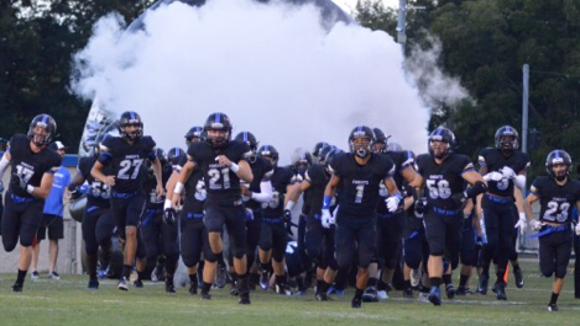 Knights running onto the field