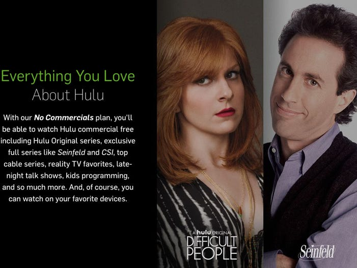 Streaming service Hulu's promotional art about new