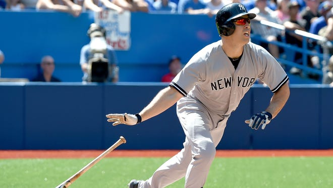 Mark Teixeira connects for the 31st and final home run of the 2015 season on Aug. 15. He'd suffer a shin fracture two days later.