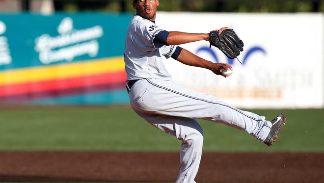 Jackson State pitcher Vincent Anthonia throws in the first inning during an NCAA college baseball tournament regional game against Louisiana-Lafayette in Lafayette, La., Friday, May 30, 2014. (AP Photo/Jonathan Bachman)