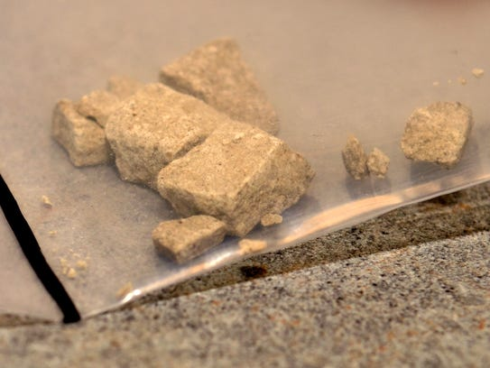 Chunks of heroin in an evidence bag at the St. Clair
