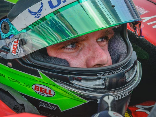 Dale Coyne Racing IndyCar driver Conor Daly (17) sits