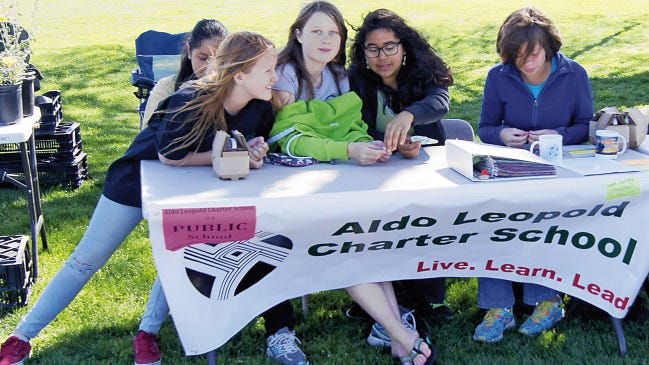 Students from Aldo Leopold Charter School participate in a recent Earth Day in Gough Park