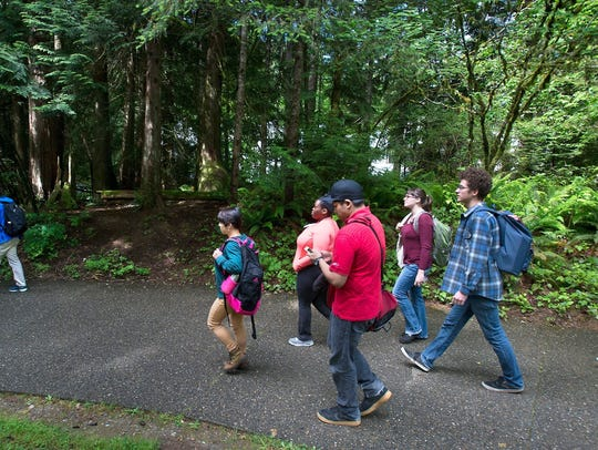 Students leave Evergreen State College campus after