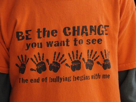 Orange shirts in support of anti-bullying are worn by students last year at Mississippi Heights Elementary School in Sauk Rapids.