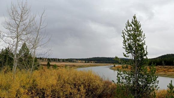 An oxbow of the Snake River flows through Wyoming's Grand Teton National Park.