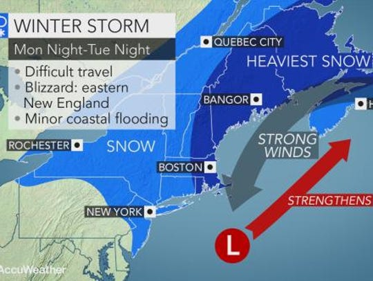 A snowstorm could slow Tuesday morning's commute.