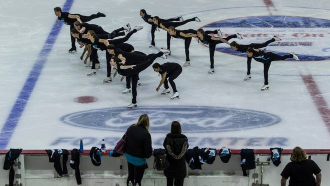 Members of the Minnesota Ice Theatre team from Minneapolis-Saint Paul practice their routine on the ice in preparation for the 10th Annual National Theatre on Ice competition at the Ford Center in Evansville, Ind., on Wednesday, June 21, 2017.