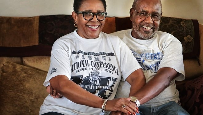 "Larry Herring is a graduate of Tennessee State University. Rubby Herring is a graduate of Southern Heritage Classic rival Jackson State University, but theirs, she says, is a ""happy mixed marriage."" Larry says he sits with the Jackson State crowd every year at the game ""to keep the peace."""