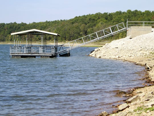 A floating fishing dock is available to anglers on