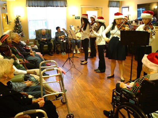 Little Stars perform a holiday concert at Waltonwood at Twelve Oaks.