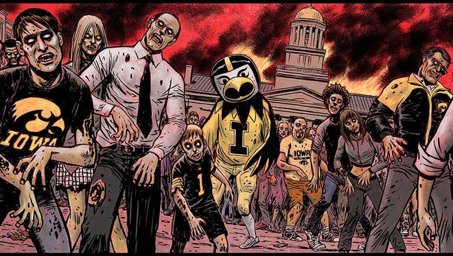 The Iowa City Zombie Burger mural created by American comic book artist Ron Wagner.
