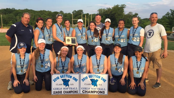 The John Jay High School softball team poses after winning its Section 1 Class AA title on May 28.