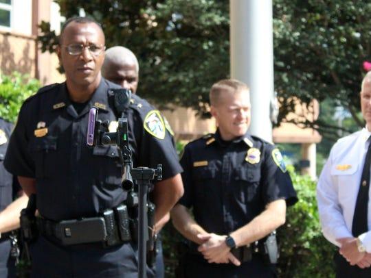 Shreveport Police Chief Alan Crump, left, addressed