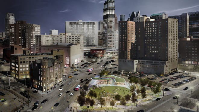 Rendering shows the planned new park that DTE Energy will build near its headquarters campus on downtown Detroit's western edge.