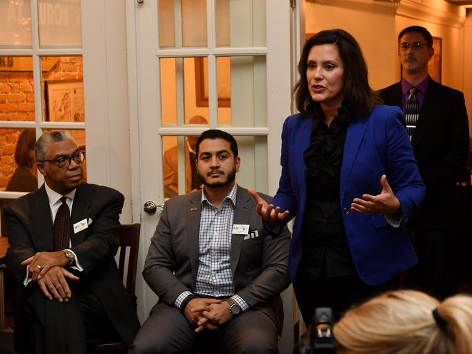Gubernatorial andidate Gretchen Whitmer answers a question