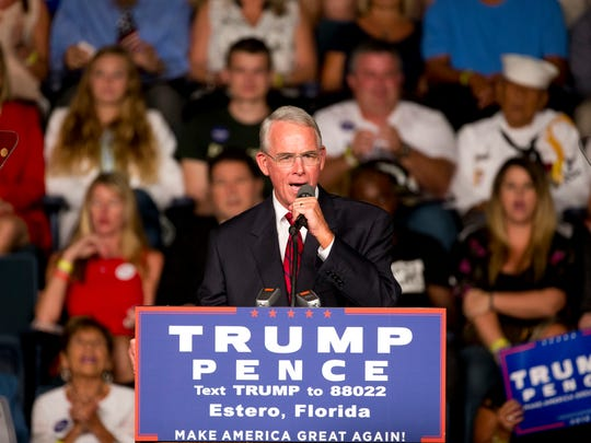 Republican candidate for Congress Francis Rooney makes an appearance during a campaign rally for Republican presidential candidate Donald Trump at Germain Arena Monday, Sept. 19, 2016. in Estero.