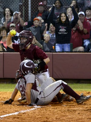 Ben Twingley/btwingley@pnj.com Tate High School catcher Izzy Werdann tags out Niceville's Kalee Polson on Wednesday in a Region 1-7A semifinal game. Tate High School catcher Izzy Werdann tags out Niceville's Raiven Bryant on Wednesday in a Region 1-7A semifinal game.