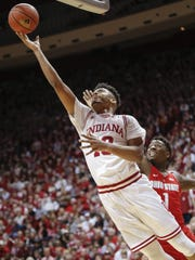 Juwan Morgan (13) shoots the ball as Ohio State forward