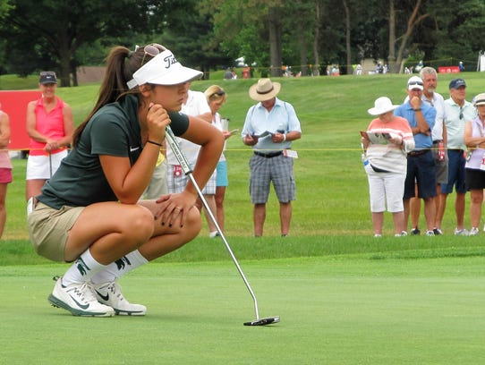 Allyson Geer of Brighton lines up a putt during the