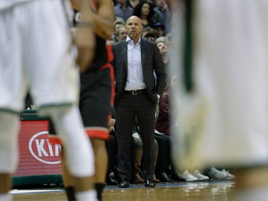Milwaukee Bucks head coach Jason Kidd watches during the second half of Game 6 of an NBA first-round playoff series basketball game against the Toronto Raptors Thursday, April 27, 2017, in Milwaukee. The Raptors won 92-89 to win the series. (AP Photo/Morry Gash)