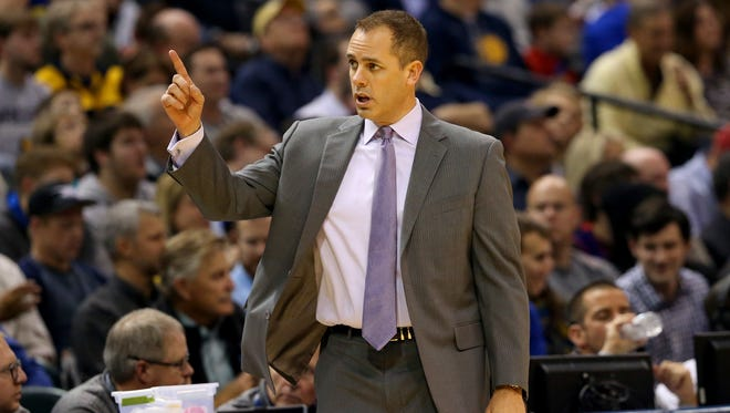 Indiana Pacers head coach Frank Vogel signals to his bench in the game against the Golden State Warriors at Bankers Life Fieldhouse on Dec. 8, 2015.