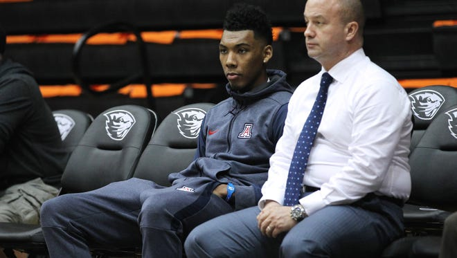 Feb 22, 2018: Arizona Wildcats guard Allonzo Trier (35) sits on the bench as his team warms up before playing Oregon State Beavers at Gill Coliseum. The NCAA has declared Trier ineligible for a trace amount of a banned substance.