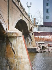 Eighth Street bridge Wednesday, April 4, over the Big Sioux River in downtown Sioux Falls.