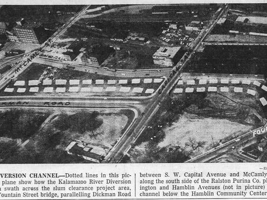 A photo from the Enquirer on May 14, 1961 shows where the finished concrete channel will run through downtown Battle Creek.