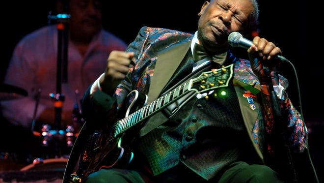 B.B. King performs Feb. 16, 2007, at the Wicomico Youth and Civic Center, in Salisbury, Md. King, whose scorching guitar licks and heartfelt vocals made him the idol of generations of musicians and fans while earning him the nickname King of the Blues, died Thursday, May 14, at home in Las Vegas. He was 89.