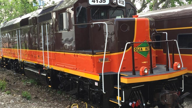 One of the locomotives that Iowa Pacific Holdings plans to use on the Hoosier State passenger rail service Thursday, June 4, 2015, in Bensenville, Illinois. The rail service will run from Indianapolis to Chicago four days a week.