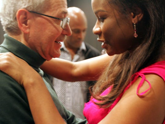 "Mezzo-soprano Denyce Graves chats with David DiChiera during a rehearsal for ""Margaret Garner,"" an opera based on Toni Morrison's novel ""Beloved,"" in April 2005."
