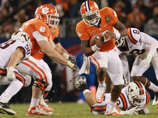 Former Clemson quarterback Tajh Boyd connected on 20-of-29 passes for 240 yards and scored four total touchdowns versus Virginia Tech in the 2011 ACC Championship.