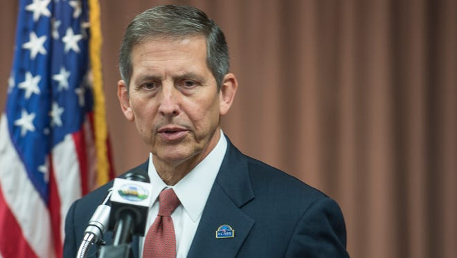 Deputy Secretary of Veterans Affairs Sloan Gibson speaks to reporters Thursday, Aug. 20, 2015, at the Central Alabama Veterans Health Care System in Montgomery.